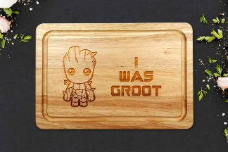 I was groot chopping board on a grey worktop