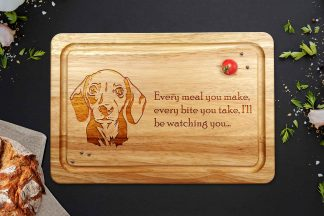 Dachshund chopping board on a kitchen work surface