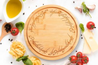 lord of the rings chopping board on a white worktop