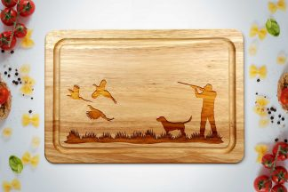 pheasant shooting chopping board on a white worktop