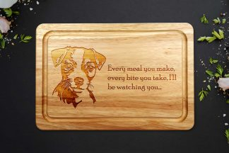 Jack Russell Chopping Board on a dark worktop