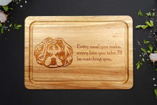 shih tzu chopping board on a grey backgroun